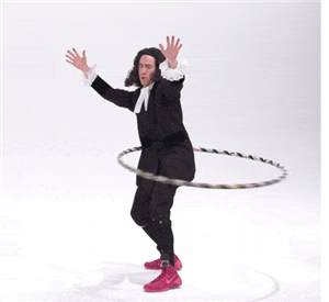 Graphic of a John Wesley impersonator hula hooping