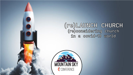Graphic for (Re) Launch Church featuring a rocket